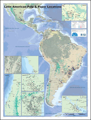Latin America pulp and paper mill map